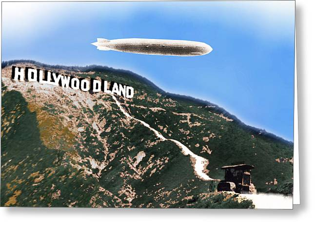 Old Home Place Paintings Greeting Cards - Hollywood Sign and Blimp Greeting Card by Tony Rubino