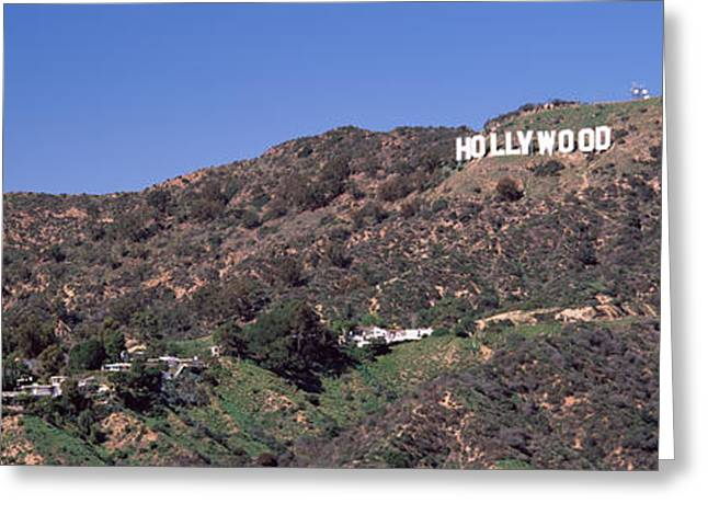 Communications Tower Greeting Cards - Hollywood Sign On A Hill, Hollywood Greeting Card by Panoramic Images