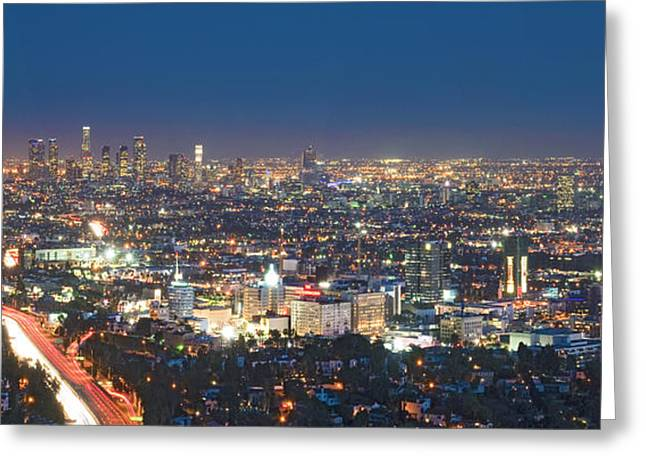 Hollywood Skyline Night Magic Hour Los Angeles CA  Greeting Card by David  Zanzinger