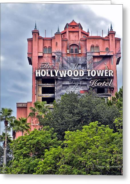 Walt Disney Boardwalk Greeting Cards - Hollywood Tower Hotel Walt Disney World Greeting Card by Thomas Woolworth