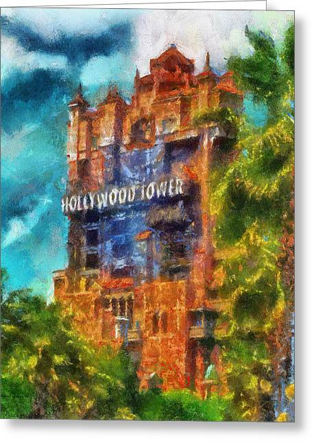 Hollywood Tower Hotel Wdw Photo Art 03 Greeting Card by Thomas Woolworth