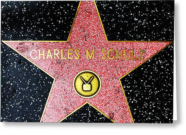 Schulz Greeting Cards - Hollywood Walk of Fame Charles Schulz 5D28947 Greeting Card by Wingsdomain Art and Photography