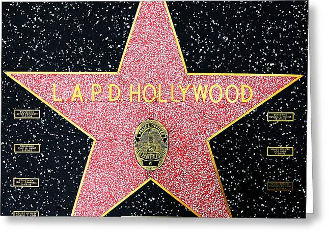 Police Department Greeting Cards - Hollywood Walk of Fame LAPD Hollywood 5D28920 Greeting Card by Wingsdomain Art and Photography