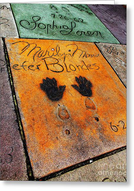 Hollywood Walk Of Fame Greeting Cards - Hollywood Walk of Fame Marilyn Monroe 5D29039 Greeting Card by Wingsdomain Art and Photography