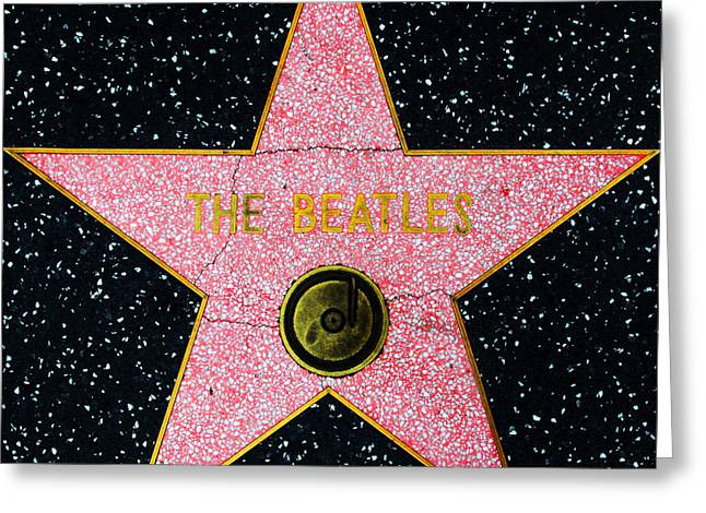 Sixties Music Greeting Cards - Hollywood Walk of Fame The Beatles 5D28922 Greeting Card by Wingsdomain Art and Photography