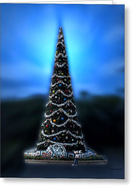 Orlando Magic Digital Art Greeting Cards - Hollywood Xmas Tree Walt Disney World Greeting Card by Thomas Woolworth