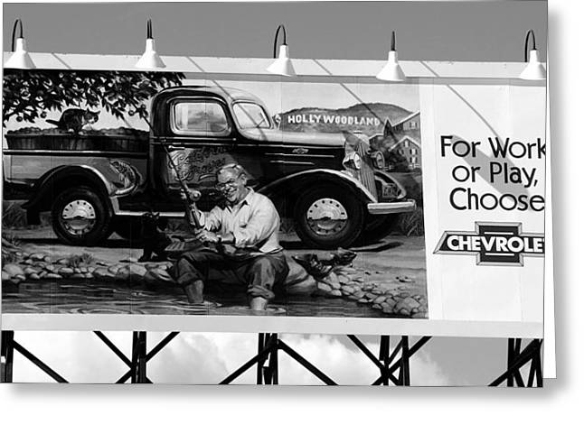 Hollywoodland Chevy Sign Greeting Card by David Lee Thompson