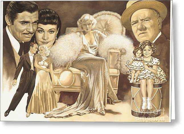 Hollywoods Golden Era Greeting Card by Dick Bobnick