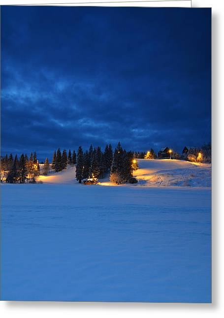 Snowy Night Night Greeting Cards - Holmenkollen Blue Greeting Card by Aaron S Bedell