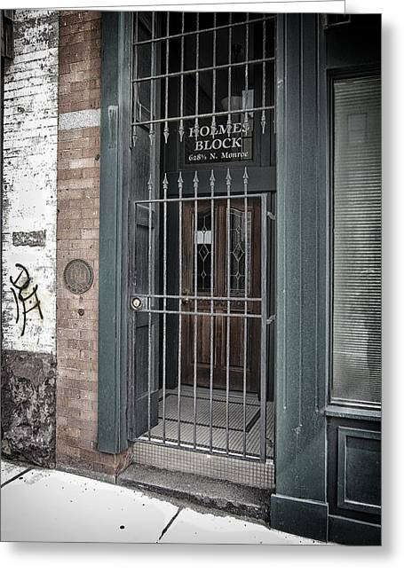Grate Greeting Cards - Holmes Block Building Greeting Card by Daniel Hagerman