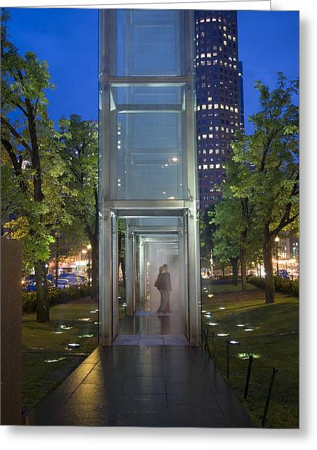 Glass Wall Greeting Cards - Holocaust Memorial Greeting Card by Granger