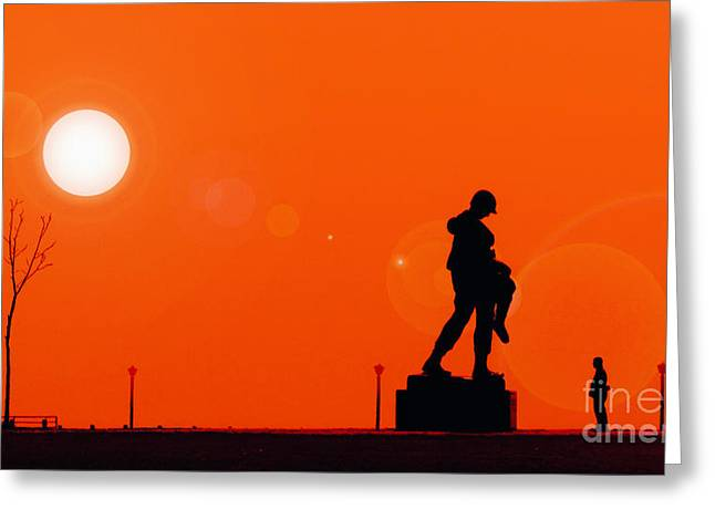 Holocaust Memorial - Sunset Greeting Card by Nishanth Gopinathan