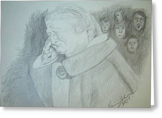Weeping Drawings Greeting Cards - Holocaust Memories Greeting Card by Esther Newman-Cohen