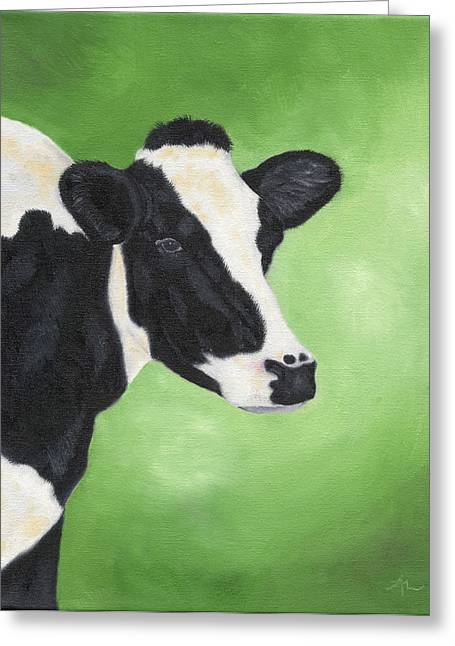 Patch Greeting Cards - Holstein Cow Greeting Card by Annamarie Lombardo