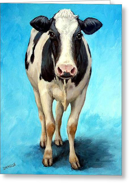 Cow Paintings Greeting Cards - Holstein Cow Standing on Turquoise Greeting Card by Dottie Dracos