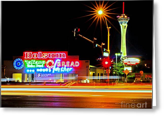 Spaghetti Noodles Greeting Cards - Holsum Las Vegas II Greeting Card by Kip Krause