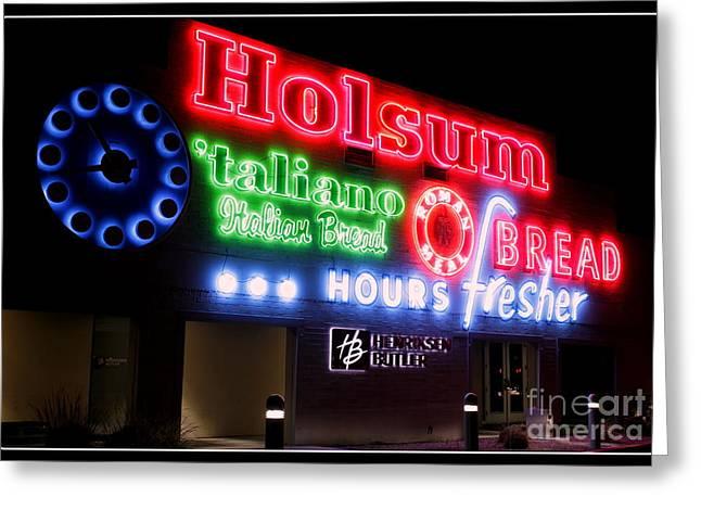 Spaghetti Noodles Greeting Cards - Holsum Neon Las Vegas Greeting Card by Kip Krause