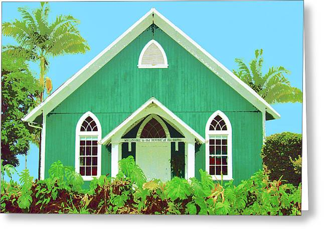 Lahaina Mixed Media Greeting Cards - Holuoloa Church Greeting Card by Dominic Piperata