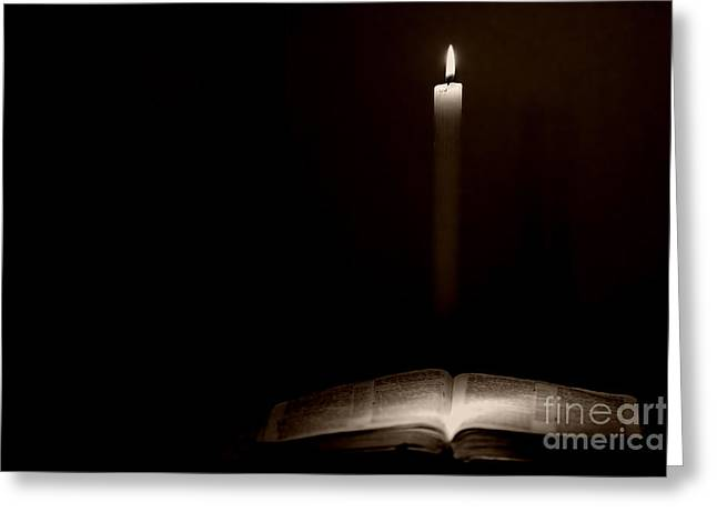 Scripture Reading Greeting Cards - Holy Bible Illuminated Greeting Card by Lincoln Rogers