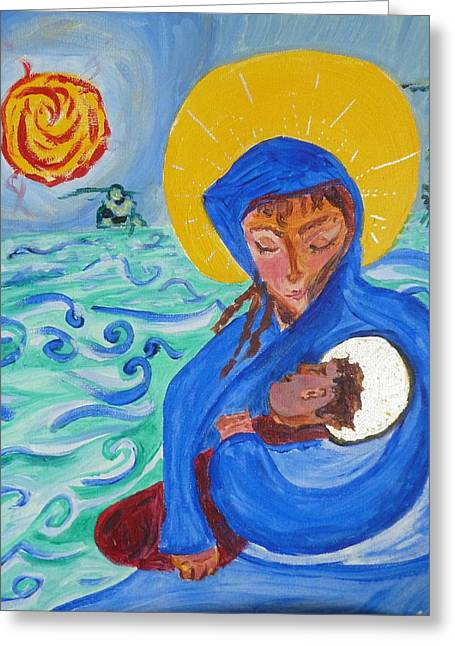 Adonai Greeting Cards - Holy Child and Holy Mom Greeting Card by Carolina Liechtenstein