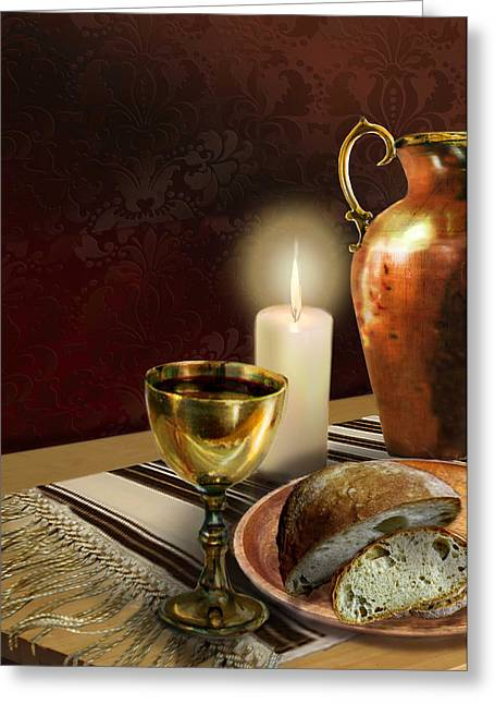 Bread And Wine Art Greeting Cards - Jewish table setting with bread and wine Greeting Card by Gina Femrite