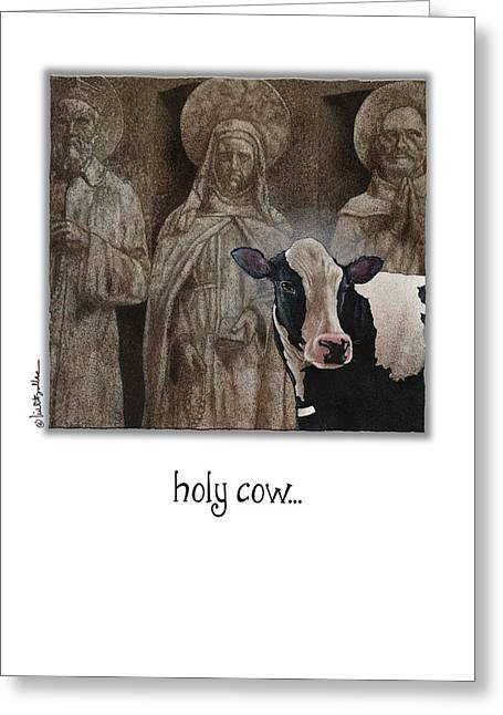 Black And White Cow Greeting Cards - Holy Cow... Greeting Card by Will Bullas