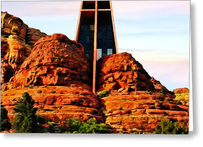 The Plateaus Greeting Cards - Chapel of the Holy Cross or Red Rock Chapel Sedona Arizona Greeting Card by  Bob and Nadine Johnston