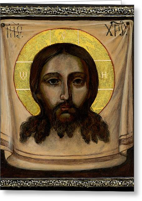 Holy Napkin Greeting Cards - Holy Face Image - Not Made By Hands Greeting Card by Fr Barney Deane