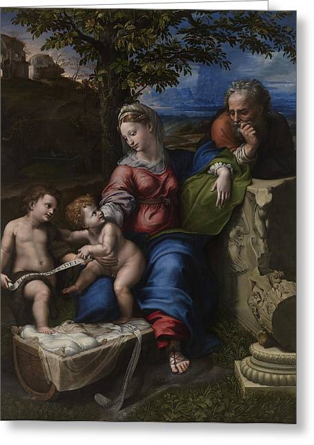 1518 Greeting Cards - Holy Family below the Oak Greeting Card by Raphael