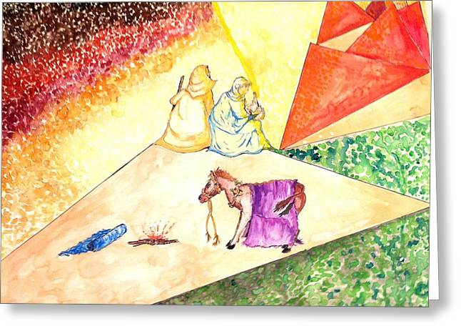 Baby Jesus Drawings Greeting Cards - Holy Family fleeing to Egypt Greeting Card by Robert Hilger