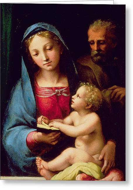 Child Jesus Greeting Cards - Holy Family Greeting Card by Giulio Romano