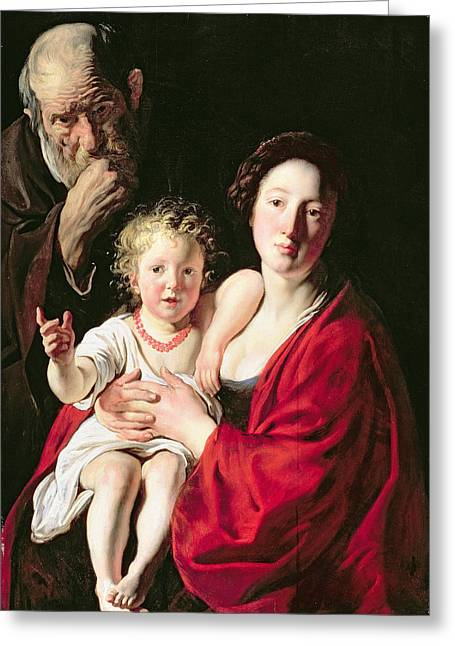 Necklace Greeting Cards - Holy Family Greeting Card by Jacob Jordaens