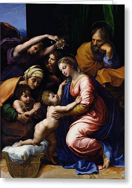 La Sainte Famille Greeting Cards - Holy Family Known As The Grande Famille Of Francois I, 1518 Oil On Canvas Greeting Card by Raphael
