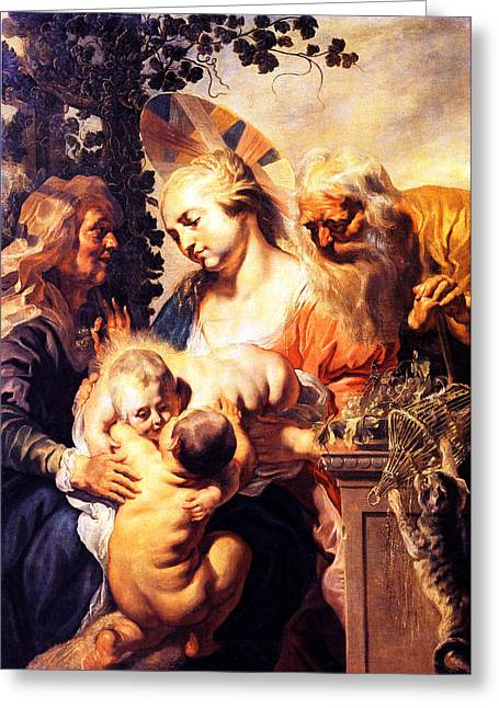 St Elizabeth Greeting Cards - Holy Family With St. Elizabeth Greeting Card by Munir Alawi