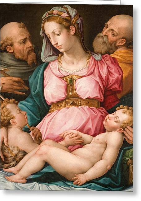 Holy Family Religious Greeting Cards - Holy Family with the Infant Saint John the Baptist and Saint Francis Greeting Card by Giorgio Vasari
