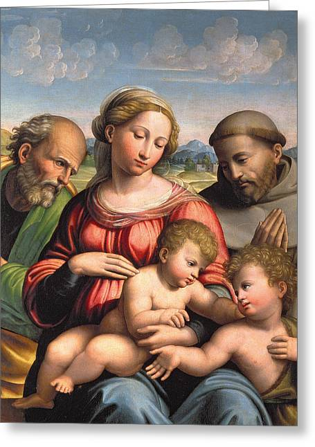 St John The Baptist Greeting Cards - Holy Family with the Infant St. John the Baptist and St. Francis Greeting Card by Innocenzo da Imola