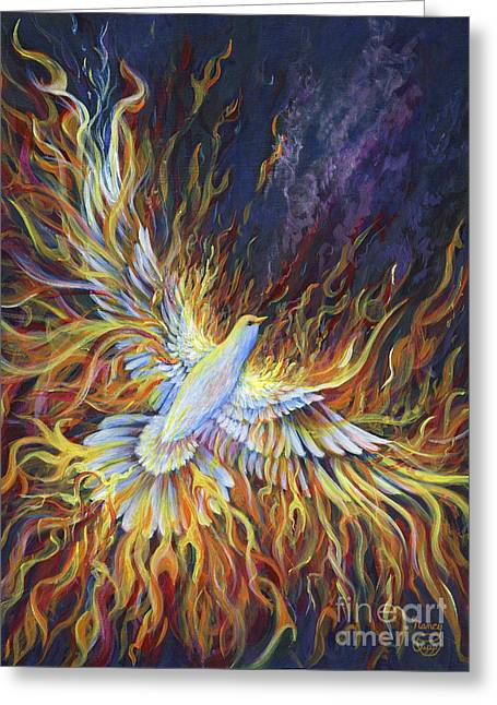 Pentecost Greeting Cards - Holy Fire Greeting Card by Nancy Cupp