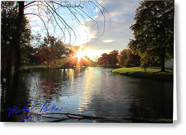 Reflections Of Trees In River Greeting Cards - Holy Ground Greeting Card by Michael Rucker