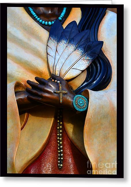Rosary Greeting Cards - Holy Hands of Kateri Tekakwitha Greeting Card by Susanne Still