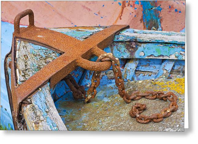 Holy Vessels Greeting Cards - Holy Island Fishing Boat Greeting Card by David Taylor