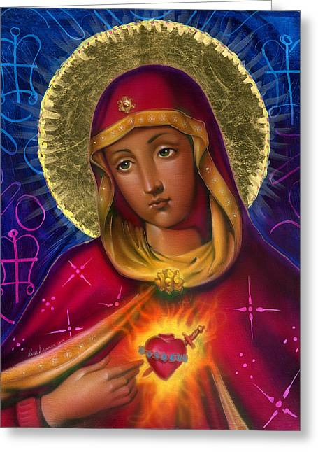 Religious Mixed Media Greeting Cards - Holy Mother Greeting Card by Luis  Navarro