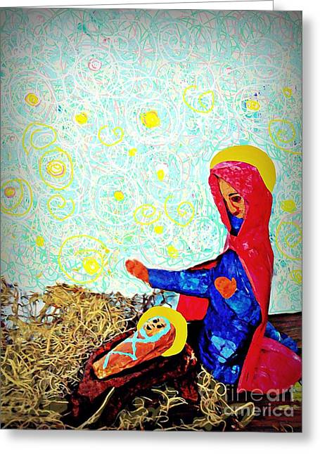 Jesus Mixed Media Greeting Cards - Holy Night Greeting Card by Sarah Loft