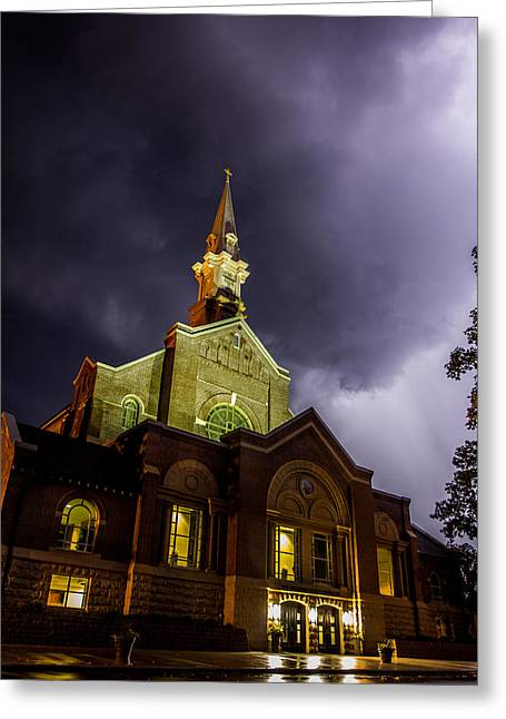Thunderstorm Greeting Cards - Holy Redeemer Greeting Card by Aaron J Groen