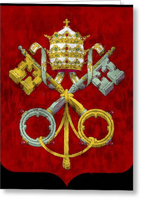 Symbology Greeting Cards - Holy See Flag Greeting Card by World Art Prints And Designs
