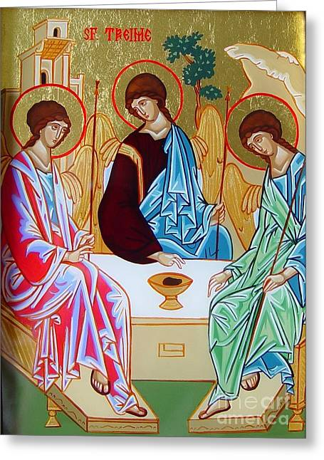 Holy Trinity Icon Greeting Cards - Holy Trinity Greeting Card by Andreea Bagiu