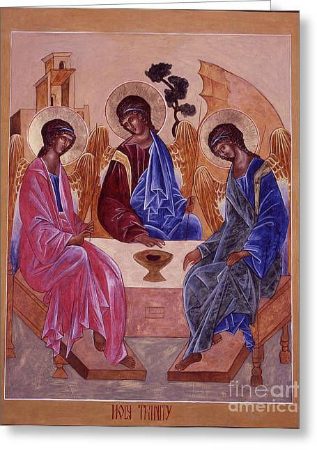 Holy Trinity Icon Greeting Cards - Holy Trinity Greeting Card by Christine Hales