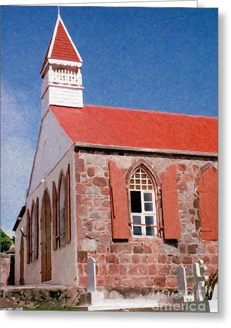 Saba Rock Greeting Cards - Holy Trinity Church On Saba Greeting Card by Susan Schroeder