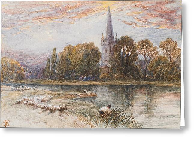 Exploring Paintings Greeting Cards - Holy Trinity Church on the banks if the River Avon Stratford upon Avon Greeting Card by Myles Birket Foster