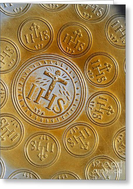 Jesus Christ Icon Greeting Cards - Holy wafer mold Greeting Card by Sinisa Botas