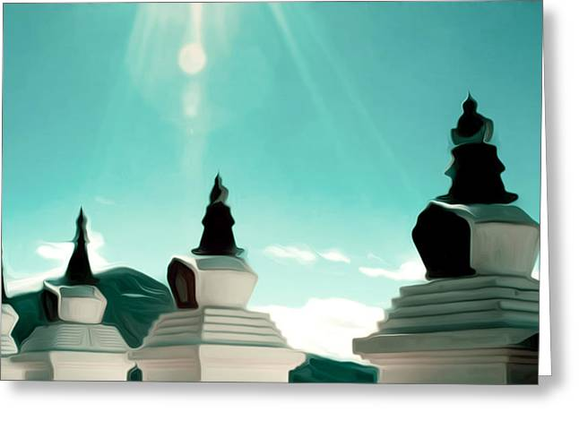 Day Greeting Cards - Holy white stupas at Deqing Greeting Card by Lanjee Chee